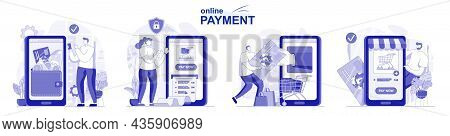 Online Payment Isolated Set In Flat Design. People Making Banking Transactions Using Applications, C