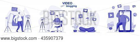 Video Blogging Isolated Set In Flat Design. People Record Videos, Bloggers Create Blog Content, Coll