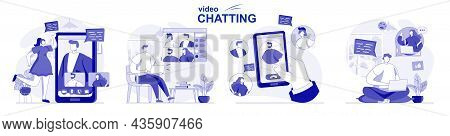 Video Chatting Isolated Set In Flat Design. People Chat With Friends Online Using Video Calling App,