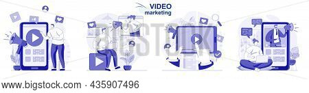 Video Marketing Isolated Set In Flat Design. People Create And Posting Content, Online Promotion, Co