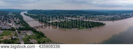 An Aerial View Of The Towns Of Northumberland And Sunbury Along The Susquehanna River In Pennsylvani