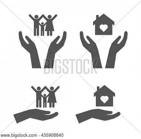 hands keep safe family and house icon set isolated on white background