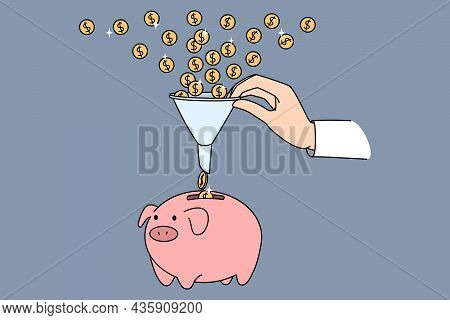Financial Funnel Depositing Money. Vector Concept Illustration Of Dollar Coins Attracted Into Busine