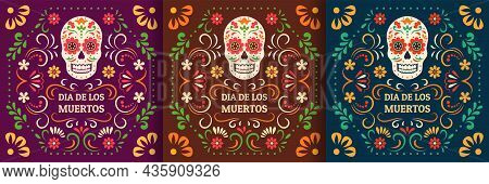 Day Of The Dead, Dia De Los Muertos. Colorful Mexican Cards, Posters, Banners With Flowers And Skull