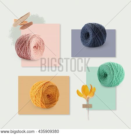 Multicolor Clews And Cards Of Similar Shades On Light Background, Collage. Montessori Method
