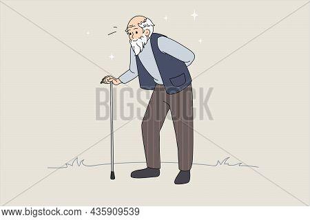 Hand Drawn Vector Illustration Of Senior Man With Walking Stick. Senior Retirement. Walking Old Man.