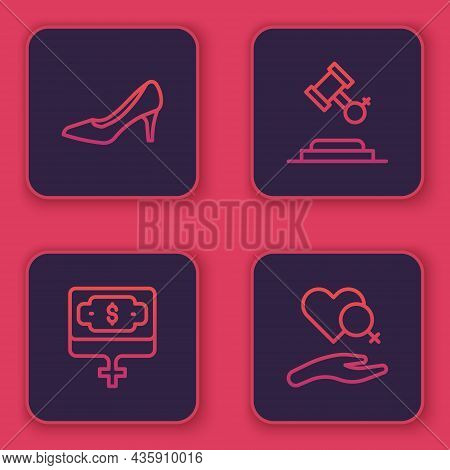 Set Line Woman Shoe, Money Growth Woman, Female Rights And Heart With Female Gender. Blue Square But