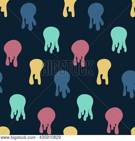 Seamless Pattern Abstract Jellyfish, Flowing Drops Of Liquid Contrasting Vector Illustration