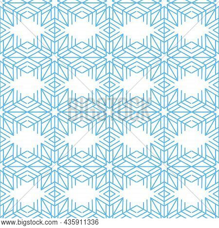 Festive Snowflake Seamless Pattern, Geometric Snowflake Design Element, Vector Illustration
