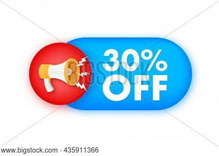 30 Percent Off Sale Discount Banner With Megaphone. Discount Offer Price Tag. 30 Percent Discount Pr