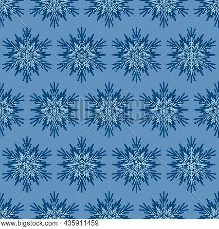 Snowflake Seamless Pattern, Geometric Snowflake Simple Design, Vector Illustration