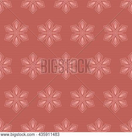 Snowflake Mandala Seamless Pattern, Geometric Snowflake Simple Design Brick Pink Color, Vector Illus