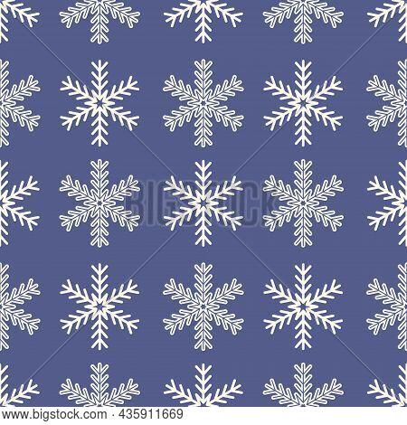 Mandala Snowflake Seamless Pattern, Geometric Snowflake Simple Design Blue Purple Color, Vector Illu