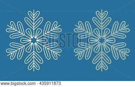 Symmetrical Snowflake, Winter Icy Snowflake Icon, Crystal Symbol Vector Illustration