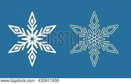 Symmetrical Snowflake, Winter Icy Snowflake Icon, Crystal Symbol Vector