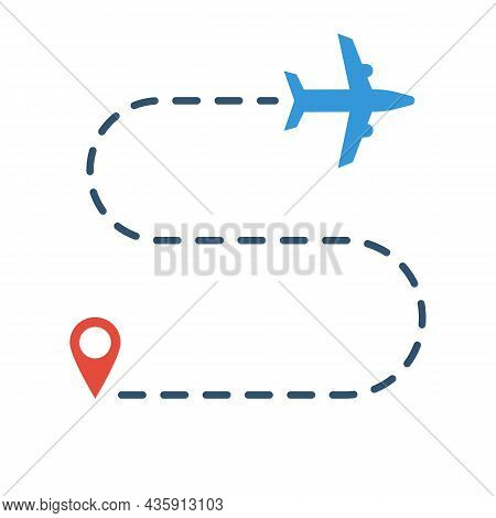 Airplane Way. Airlines Trajectory With Starting Point And Aircraft Silhouette. Vector Illustration F