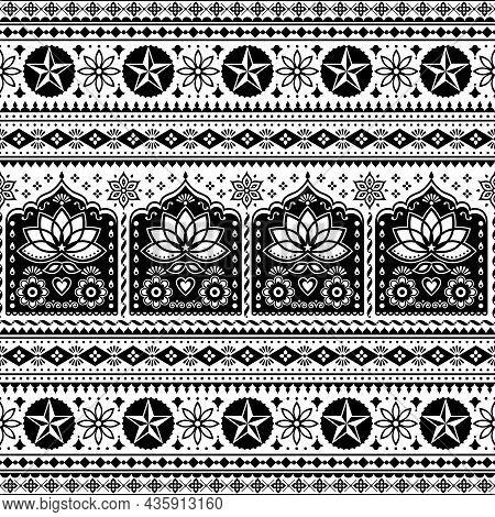 Indian Truck Art Floral Seamless Folk Art Pattern, Pakistani Jingle Trucks Vector Design,  Black And