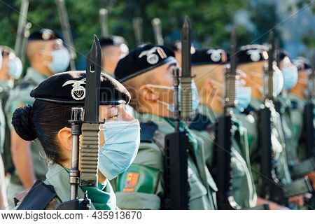 Madrid, Spain - October 12, 2021: Soldiers During Spanish National Day Army Parade In Madrid. Paratr