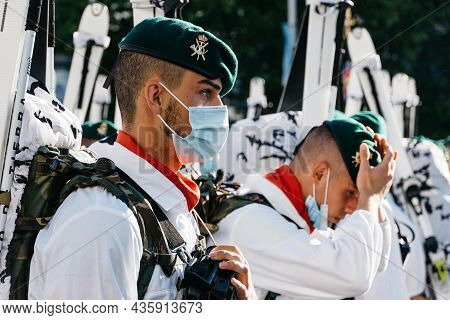Madrid, Spain - October 12, 2021: Soldiers During Spanish National Day Army Parade In Madrid. Mounta