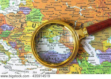Lviv Ukraine-14 08 2020 :crimea Ukraine, Russia Black Sea On A Map Of Europe In A Defocused Magnifyi