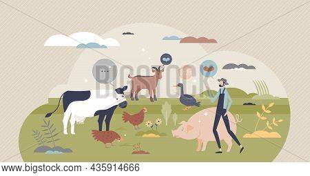 Animal Welfare And Good Behavior With Respect And Care Tiny Person Concept. Veterinarian Love And Su