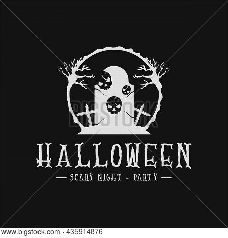 Grave Tombstone And Skull Halloween Logo Vintage Vector Illustration Template Icon Design