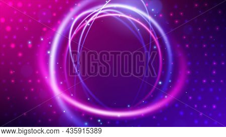 Swirl Trail Effect, Neon Round Frame, Abstract Radial Halftone Background, Vector Illustration