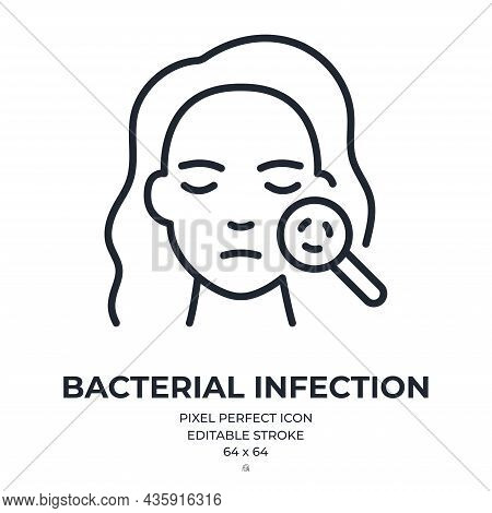 Skin Bacterial Infection Editable Stroke Outline Icon Isolated On White Background Flat Vector Illus