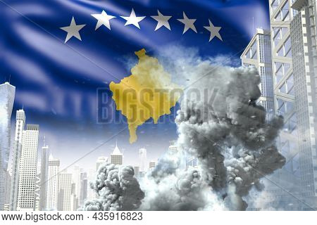 Large Smoke Column In Abstract City - Concept Of Industrial Blast Or Terroristic Act On Kosovo Flag