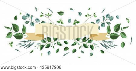 Card Or Background With Branches And Green Leaves. Spring Or Summer Stylized Foliage.