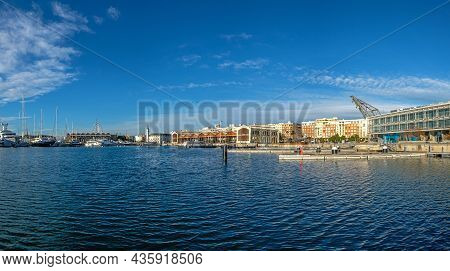 Valencia Harbor, Port Twilight, Reflection In Water Wide Angle, Panoramic Skyline Sunset Port