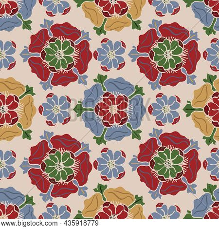 Medieval Rose Vector Pattern Seamless Background. Azulejo Tile Style Backdrop Of Hand Drawn Flower M