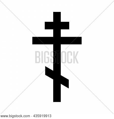 Christian Cross Icon. Vector Christian Cross. Black Religion Symbol. Vector Illustration