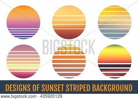 Sunset Striped Backgrounds. Sunset Striped Backdrops. Sunrise Vintage Wallpapers.