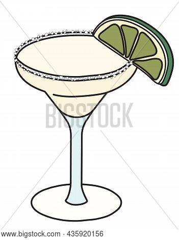 Margarita Classic Cocktail In Specific Glass. A Tequila Based Drink Garnished With Slice Of Lime And