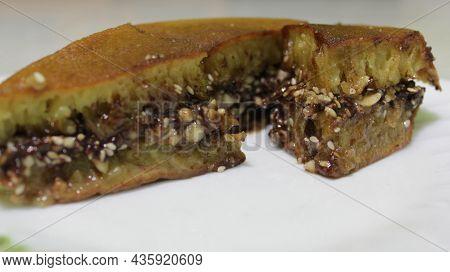 Sweet Martabak With Topping Chocolate Peanut. Delicious Martabak. Martabak Is Indonesian Food.
