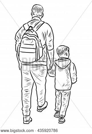 Contour Drawing Of Father With His Little Son Walking For A Stroll Together