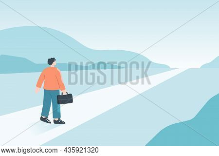 Business Person On Long Abstract Road In Future. Journey Of Businessman On Way To Job Opportunity, V