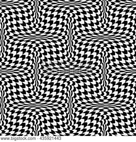 Optical Illusion Distorted Black And White Arrow Seamless Pattern. Psychedelic Wavy Monochrome Repea