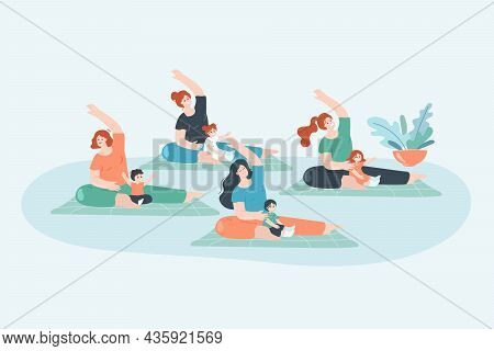 Yoga Exercises Of Mothers With Kids In Gym. Group Of Happy Young Moms With Children Doing Sport Work