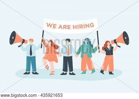 Team Of Business People In Search Of New Employees. Female And Male Office Workers Holding We Are Hi