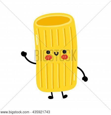 Cute Funny Macaroni Pasta Noodles Character. Vector Hand Drawn Cartoon Kawaii Character Illustration