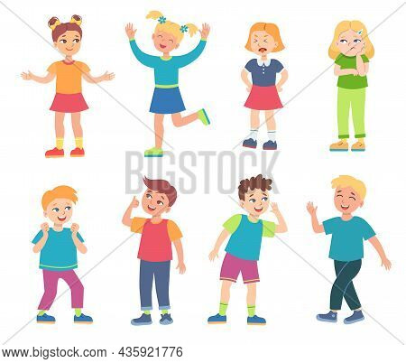 Teen Cartoon Boys And Girls Vector Illustrations Set. Little Kids Smiling And Laughing, Characters S