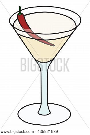 Fifty Classic New Era Cocktail In Martini Glass. Vodka Vanilla Sweet And Drink Decorated With Red Ch