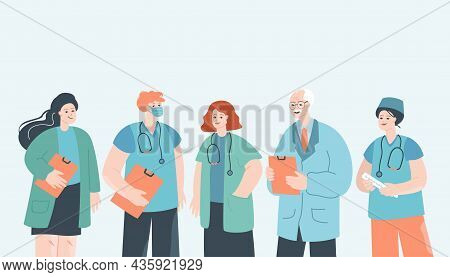 Doctor, Nurse And Medical Staff In Hospital Team. Frontline Clinic Group Of Professional Male And Fe