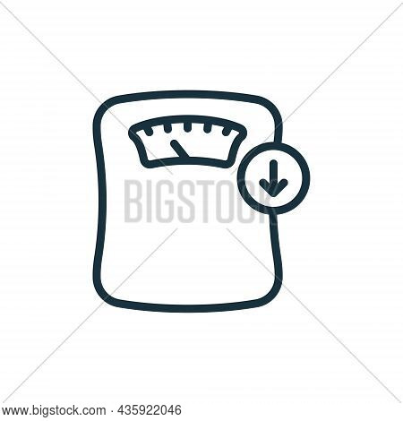 Weighing Machine Line Icon. Weight Loss Concept. Weight Control Concept Linear Pictogram. Bathroom F