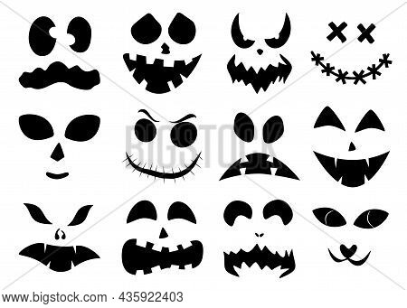 Set Of Halloween Carved Faces Silhouettes. Black Elements For Decorating Pumpkins. Template With Eye