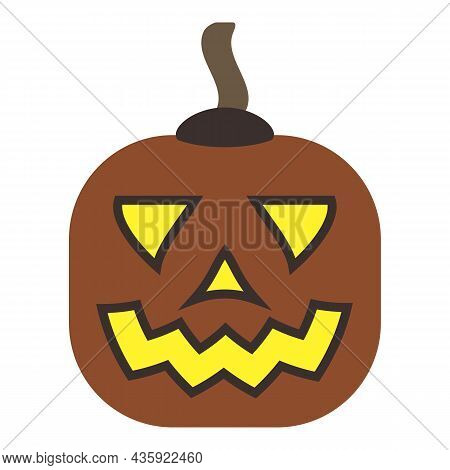 Pumpkin With Carved Smile. Terrible Grimace. Smiling Cute Glowing Gourd Face. Squash Vegetable Decor