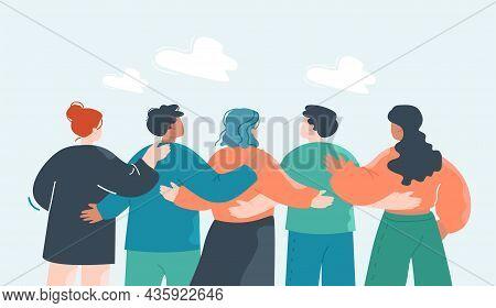 Crowd Of Cartoon Team Members Hugging From Behind. Back View Of Workplace Community Flat Vector Illu