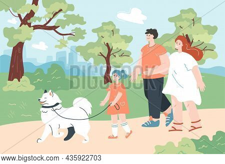 Family People On Walk With Dog In City Park. Couple Of Parents Walking, Child Holding Dog Leash Flat